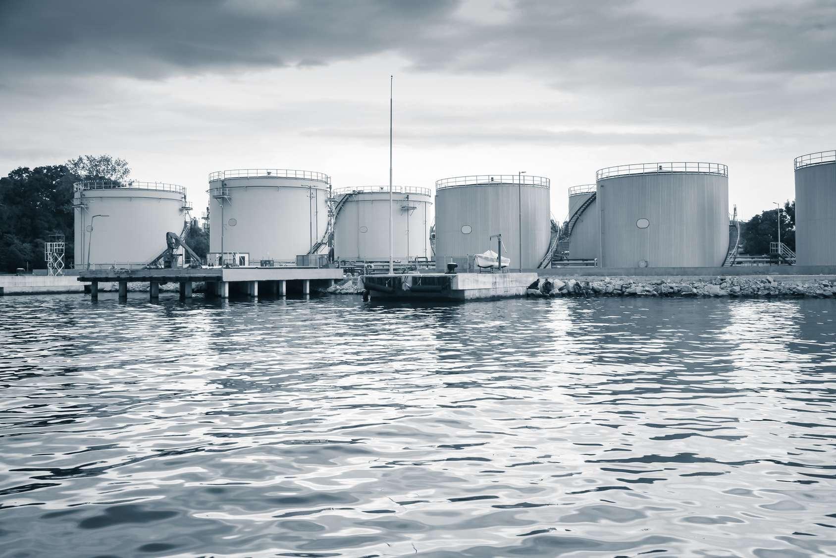 Metal oil tanks on the sea coast in Varna port