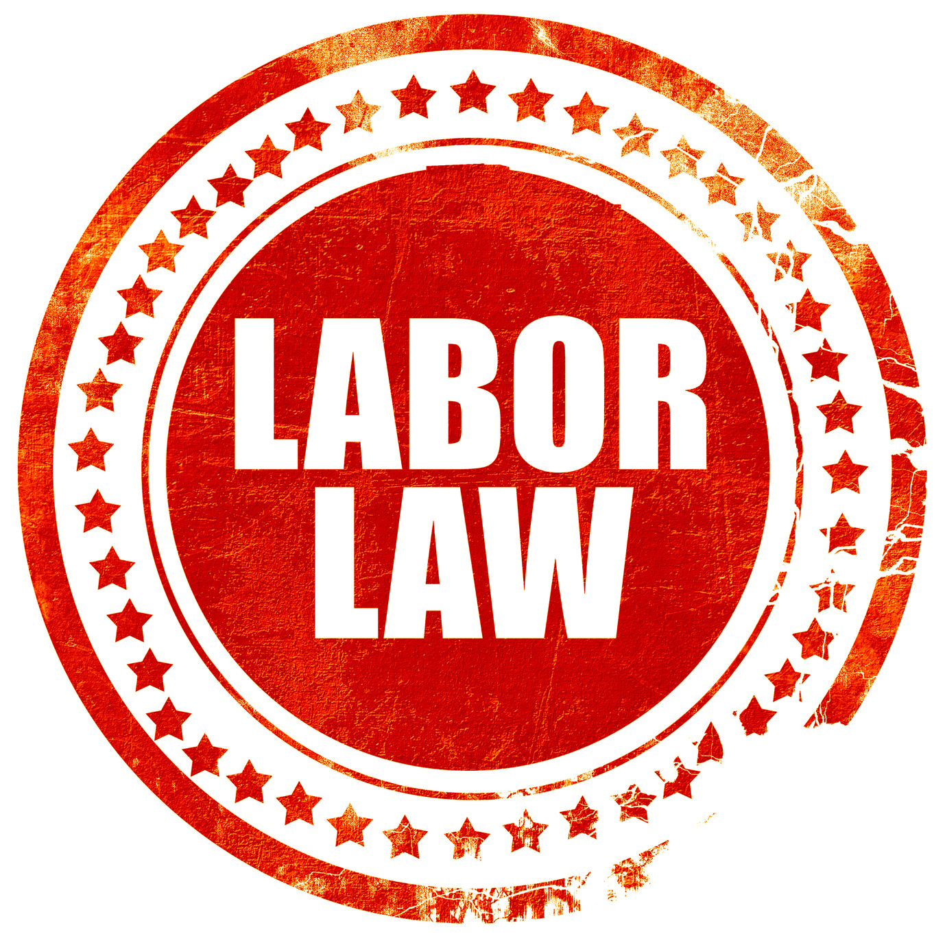 labor law, isolated red stamp on a solid white background