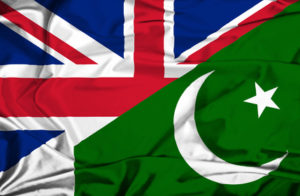 Waving flag of Pakistan and UK